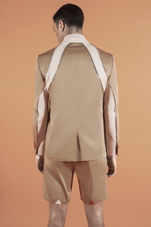 Khaki - Chalk - Iridescent piping 100% Stretch cotton Half lining : Viscose