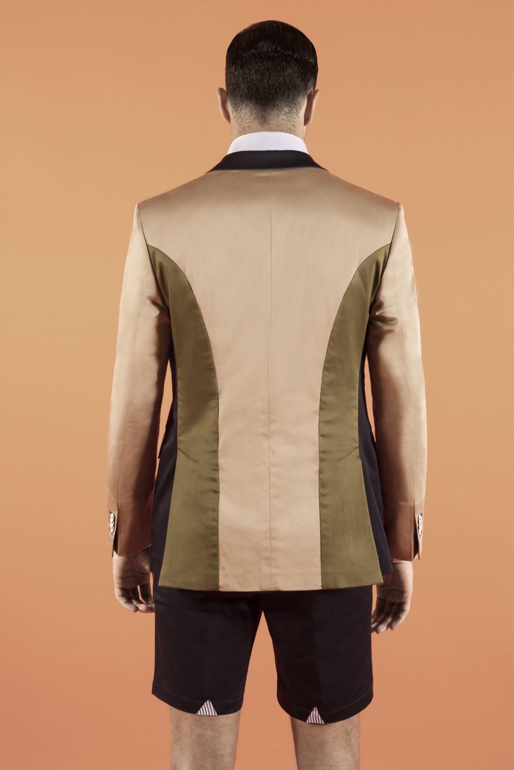 Khaki - Military green - Navy Stretch cotton - Cotton Half lining : Viscose