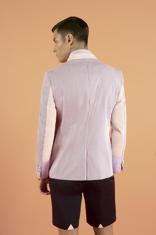 Blue/white - Light blue/white - Chalk Seersucker - Stretch cotton Half lining : Viscose