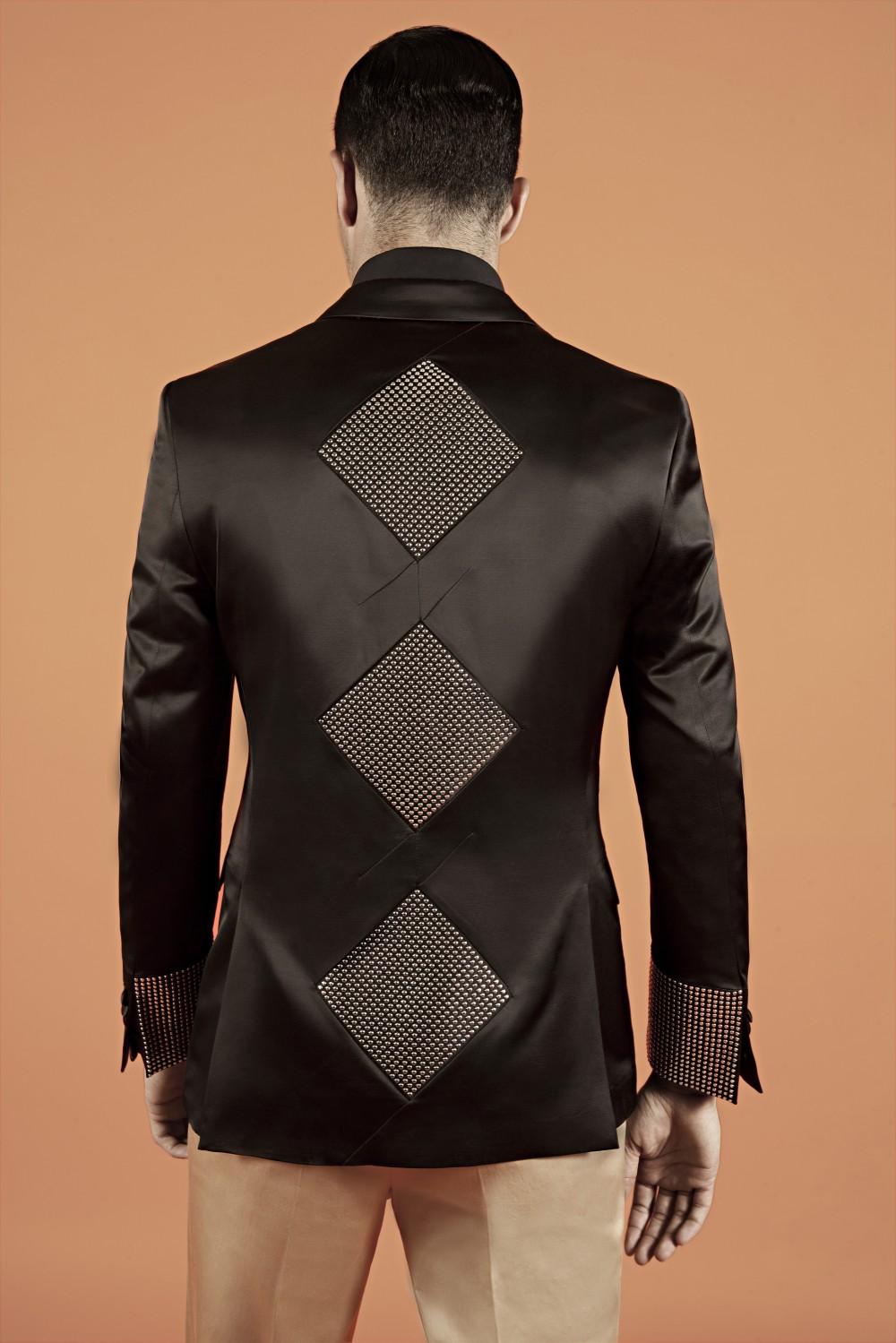 Black - Silver Wool-Viscose blend - Double duchess silk satin - Metal studs Lining : Viscose